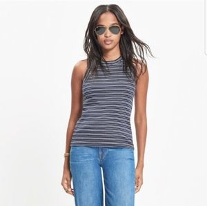 Madewell Striped Blue Broadcast Tank Top Large